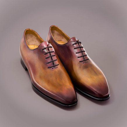 richelieu one cut altan bottier, patine, goodyear, chaussure pour homme, berluti