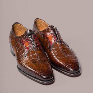 Model Eiffel Alligator Altan Bottier, patinated leather, men's shoes, alligator shoes, dress shoes, luxury shoes