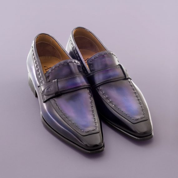 Mocassin Azur altan bottier, patine, goodyear, chaussure pour homme, berluti