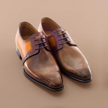 Chaussure Altan Bottier, modèle derby le toscan, chaussure à patiner, altan bottier, berluti