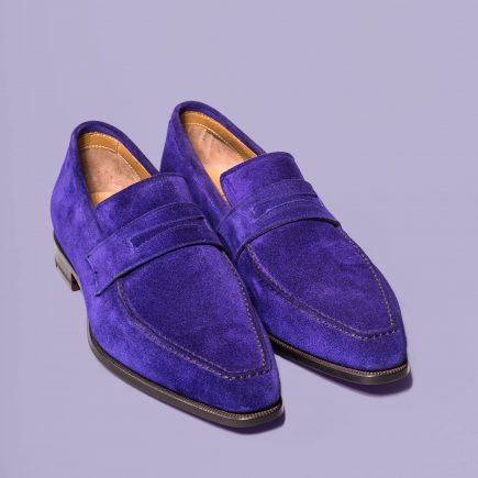 Loafer the lincoln Altan Bottier, velvet leather, blue majerolle, men's shoes, leather shoes, dress shoes, paris