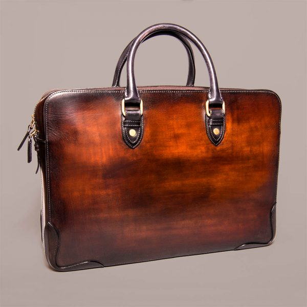 Marco briefcase Altan Bottier, patinated leather, leather goods, small leather goods, men's accessories, luxury