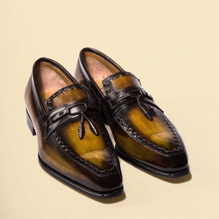 Mocassin Julius Altan Bottier, loafer, patine, chaussure pour hommes, paris