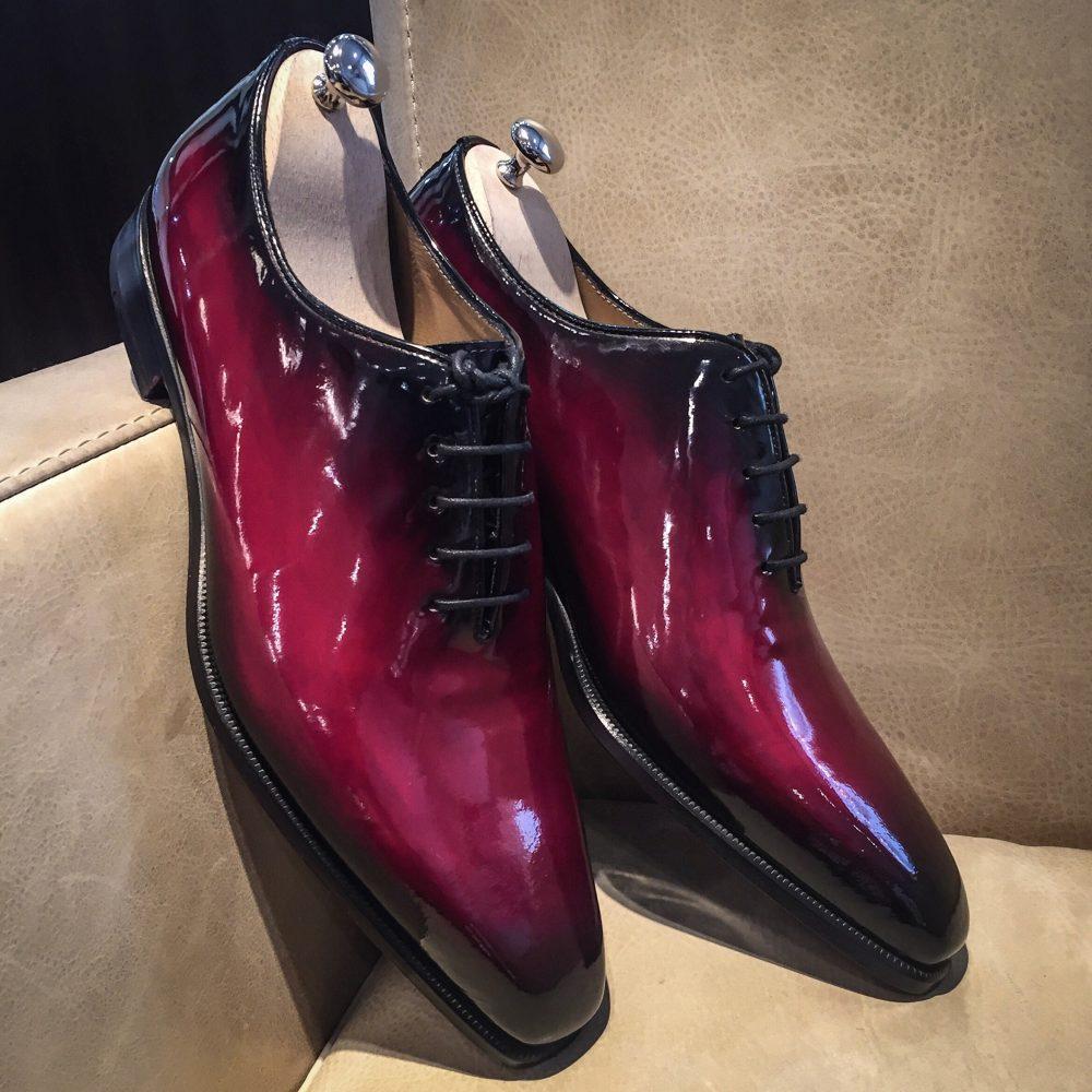 Richelieu Vernis patiné, altan bottier, patine, chaussure patiné, soulier vernis