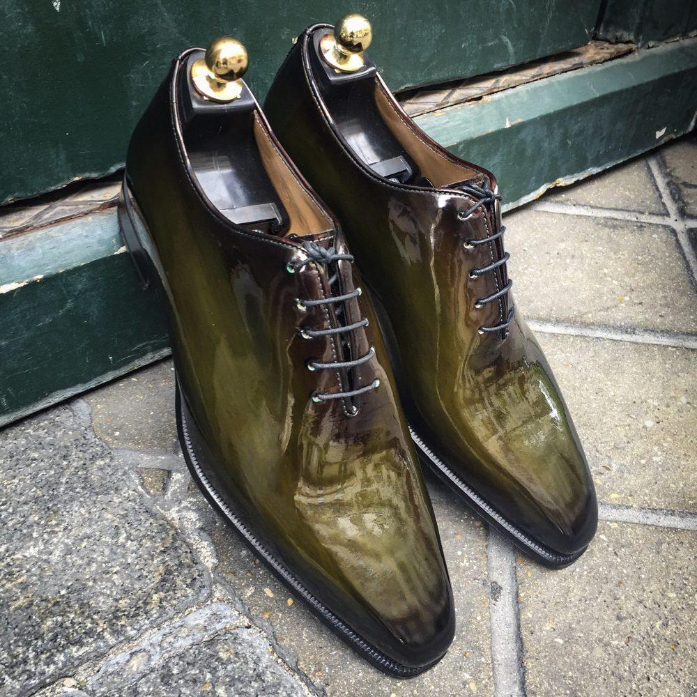 richelieu chaussure vernis patine, altan bottier