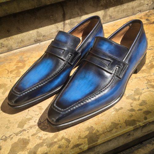 Mocassin le Lincoln Altan Bottier, patine bleu électrique, chaussure patiné, chaussure pour homme, souliers, patine