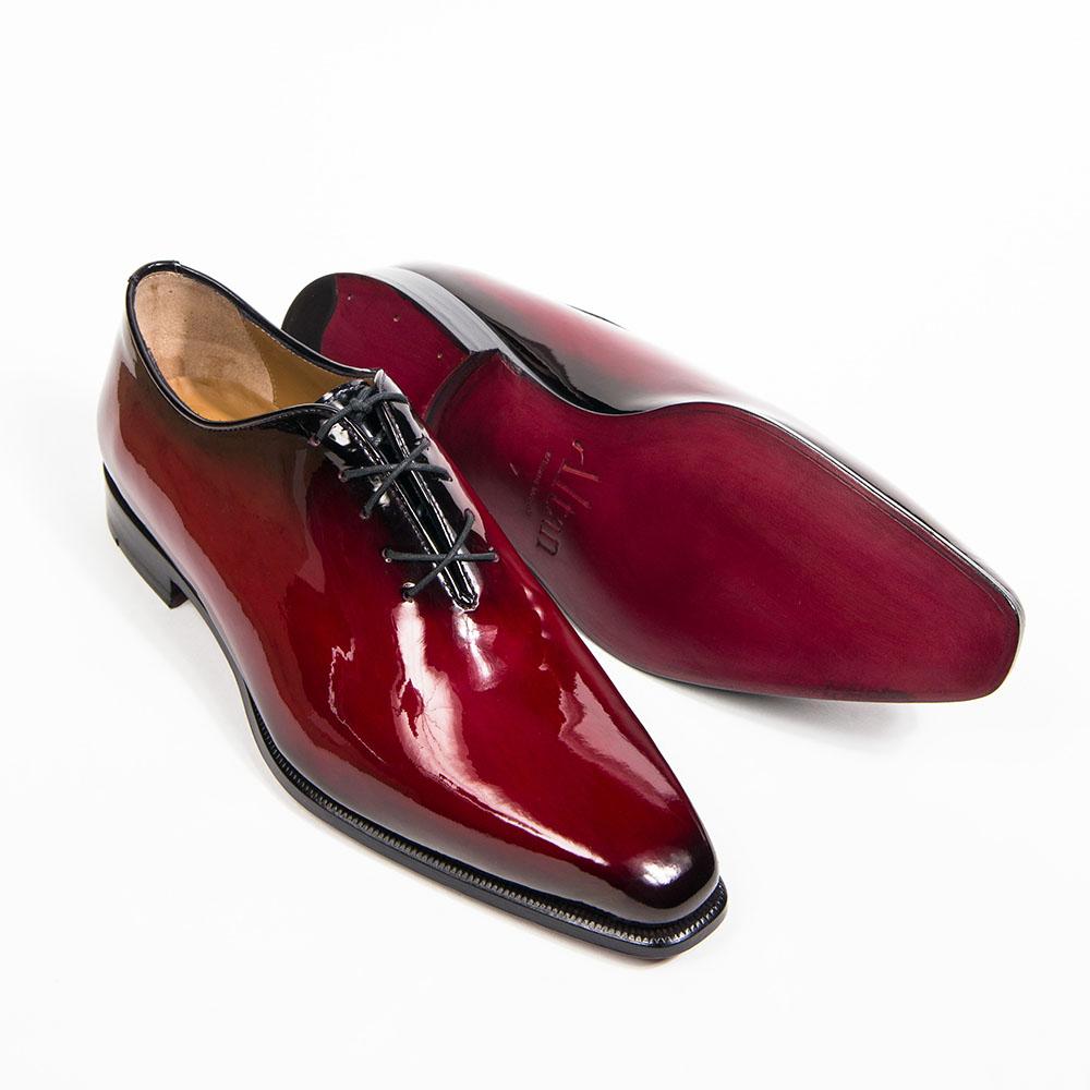 chaussure richelieu vernis, altan bottier, chaussure pour homme, vernis, patine
