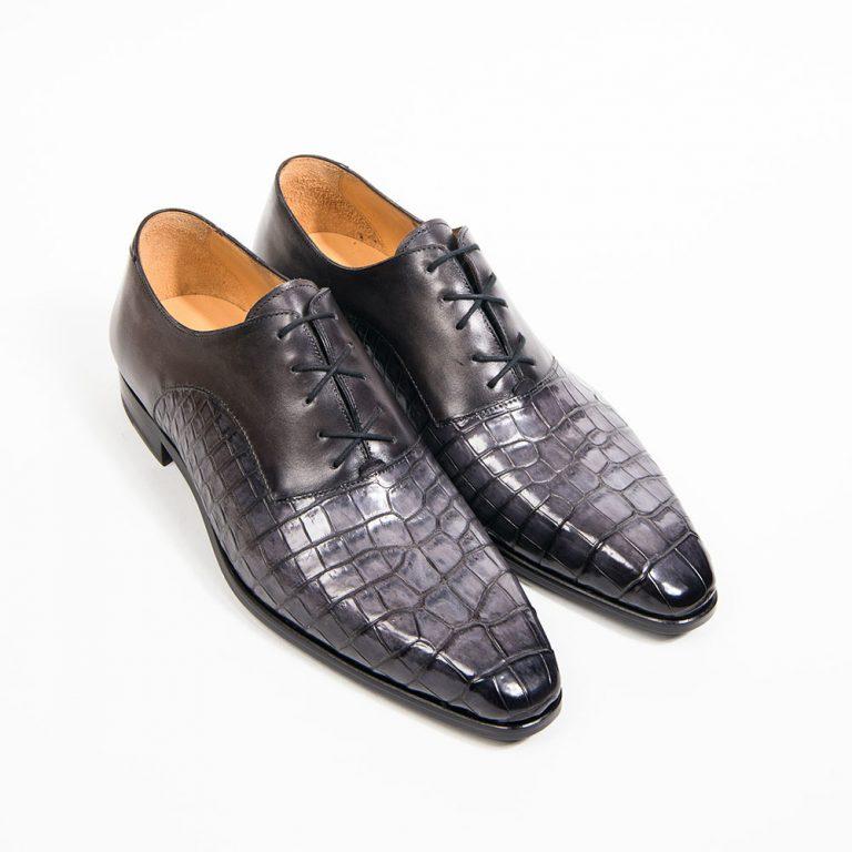 chaussure richelieu homme, chaussure homme, chaussure habillée, altan bottier, soulier à patiner, patine sur cuir, crocodile