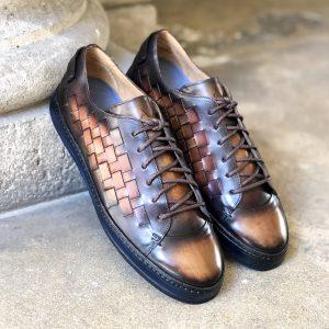 sneacker homme, altan bottier, sneacker patine, sneacker en cuir,